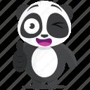 emoji, emoticon, panda, smiley, sticker, wink icon