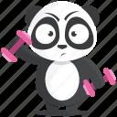emoji, emoticon, gym, panda, smiley, sticker, workout icon