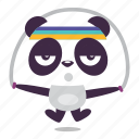 exercise, jump, panda, rope, trainning icon