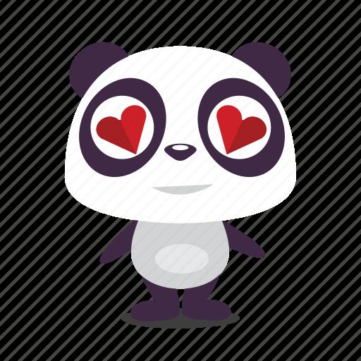 hearts, love, panda, valentine icon