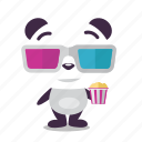 entertainment, glasses, movie, panda, popcorn icon