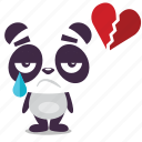 broken, heart, love, panda icon