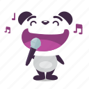 karaoke, panda, rock, singing icon