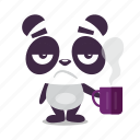 bored, coffee, morning, panda, sleepy icon