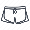 beach, clothes, line, outline, pool, shorts icon