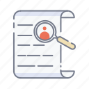 find, magnifying glass, paper, papers, search icon