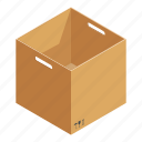 opened, parcel, package, object, box, isometric