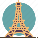 eiffel, france, landmark, paris, tower, travel icon