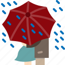 couple, love, paris, rain, romantic, travel, umbrella icon