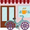 bicycle, restaurant, shop, window, france, cafe, paris