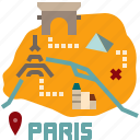 guide, city, map, paris, travel