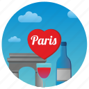 france, love, paris, romance, romantic, travel, wine icon