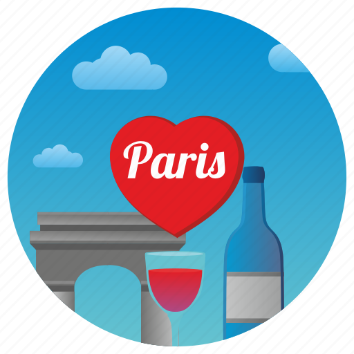 france, love, paris, romance, romantic, travel, wine icon
