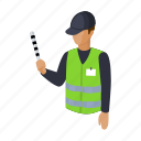 business, man, parking, profession, uniform, wand icon