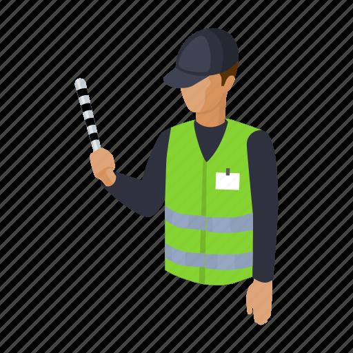 business, man, parking, profession, uniform, wand icon