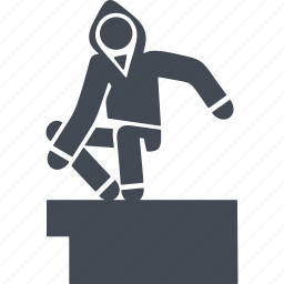 let, parkour, parkurist, running with obstacles icon