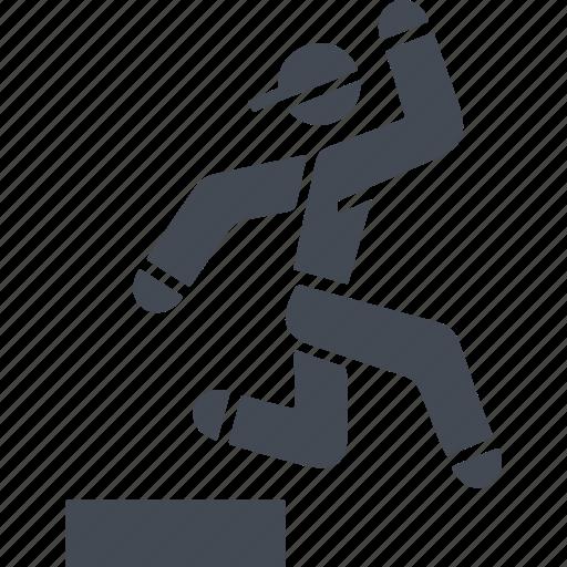 jumping, let, parkour, parkurist, sport icon