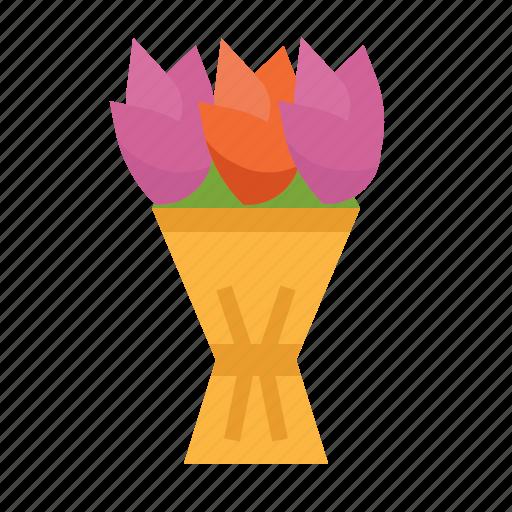 blossom, botanical, bouquet, flowers, nature, tulip icon