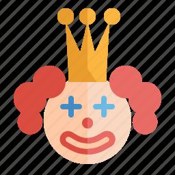 circus, clown, face, happy, joker, party, smile icon