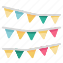 decoration, entertainment, flags, garland, ornaments, party icon