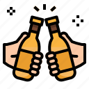 alcohol, bar, beers, bottle, drinks, hand, toast icon
