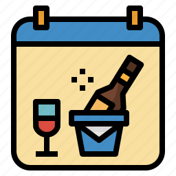calendar, date, event, party, time, wine icon