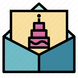 birthday, cake, card, celebration, greeting, invitation, party icon