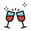 alcohol, food, glasses, party, toast, wine icon