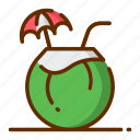 coconut, holiday, summer, tourism, vacation icon