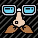 comedian, costume, funny, glasses, mustache icon