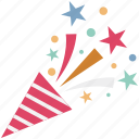 confetti, confetti poppers, party popper, streamers, wedding confetti icon