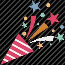 confetti, confetti poppers, party popper, streamers, wedding confetti icon
