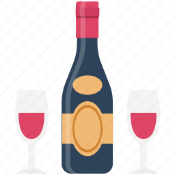 alcohol, alcoholic drink, beer bottle, drink, glass, wine, wine bottle icon
