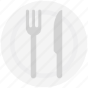 flatware, fork, knife, plate, spoon, utensil icon