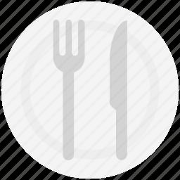 flatware, fork, knife, plate, spoon, utensil icon