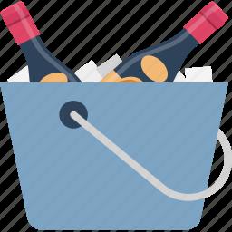 alcohol, champagne bucket, wine bottle, wine bucket, wine cooler icon