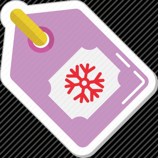 christmas sticker, christmas tag, label, shopping, snowflake icon