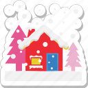 christmas season, cloud, fir tree, pine tree, winter icon