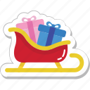 gift, gift box, sled, sledge, sleigh icon