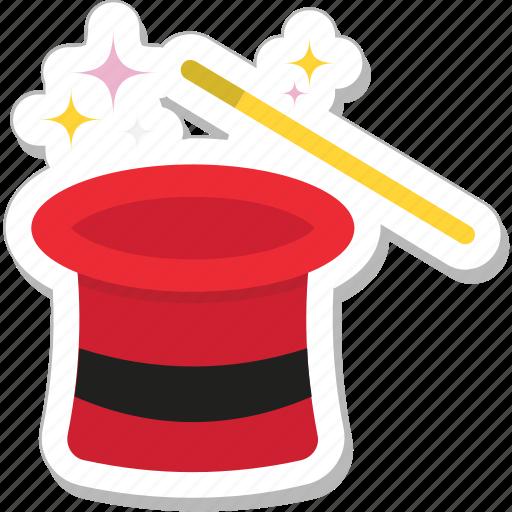 magic, magic trick, magician, magician hat, wand icon