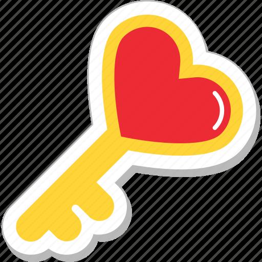 heart, heart key, key, love, romance icon