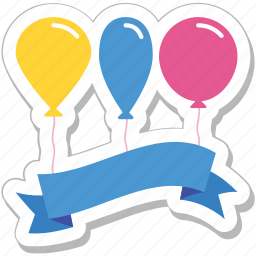 balloons, celebrations, decorations, fun, party icon