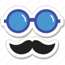 costume, glasses, hipster, moustache, party props icon