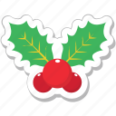 christmas, decorations, leaves, mistletoe, xmas icon