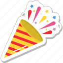 confetti, confetti cone, party popper, streamers, wedding confetti icon