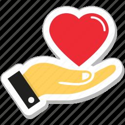 hand, heart, heart care, love, loving icon