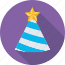 birthday, birthday cap, cone hat, party, party cap icon