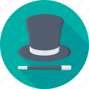 magic, magician, magician hat, wand, wizard icon