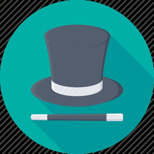 magic, magician, magician hat, wand, wizard icon