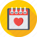 14 february, calendar, day, heart, valentine day icon